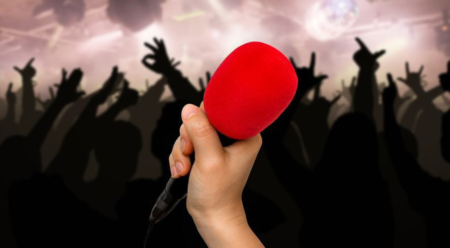 A hand holds a microphone at a concert
