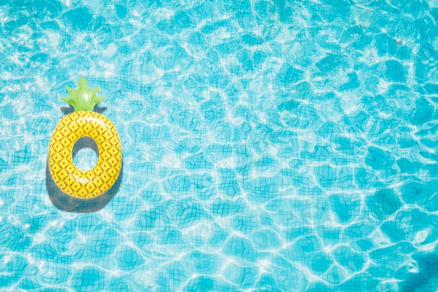 A pineapple-shaped pool float