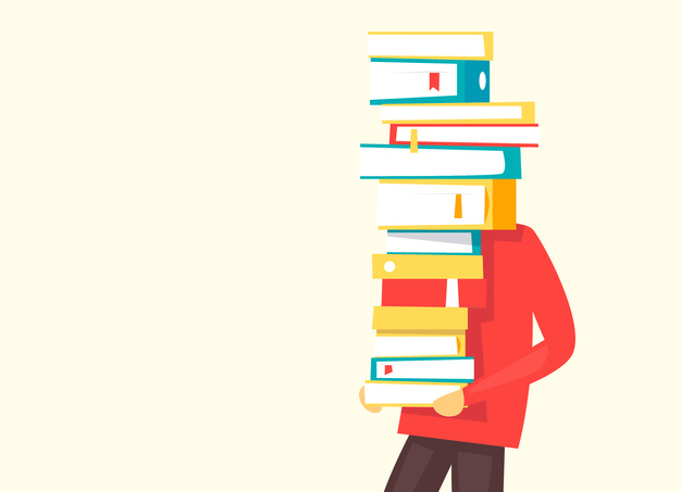 A person carrying a big pile of books