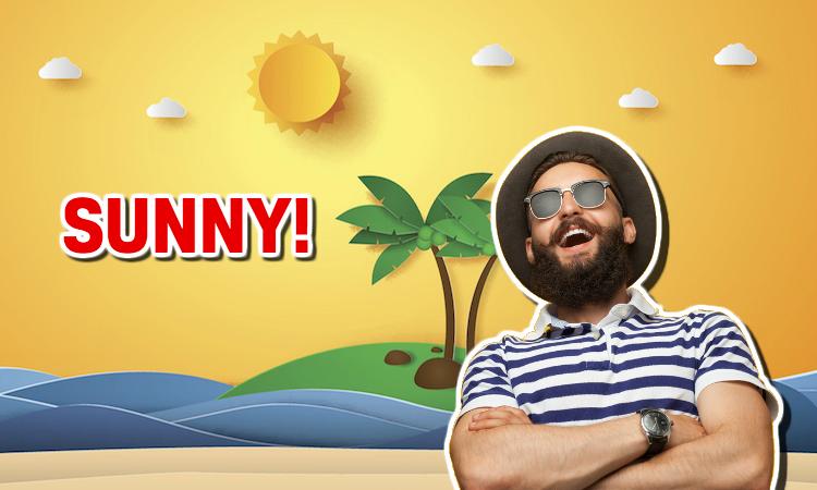 A bearded man enjoying the hot sunshine at the beach