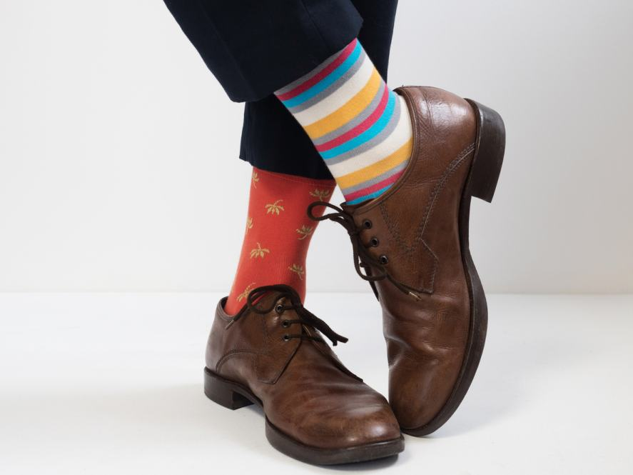 Stylish shoes and bright socks