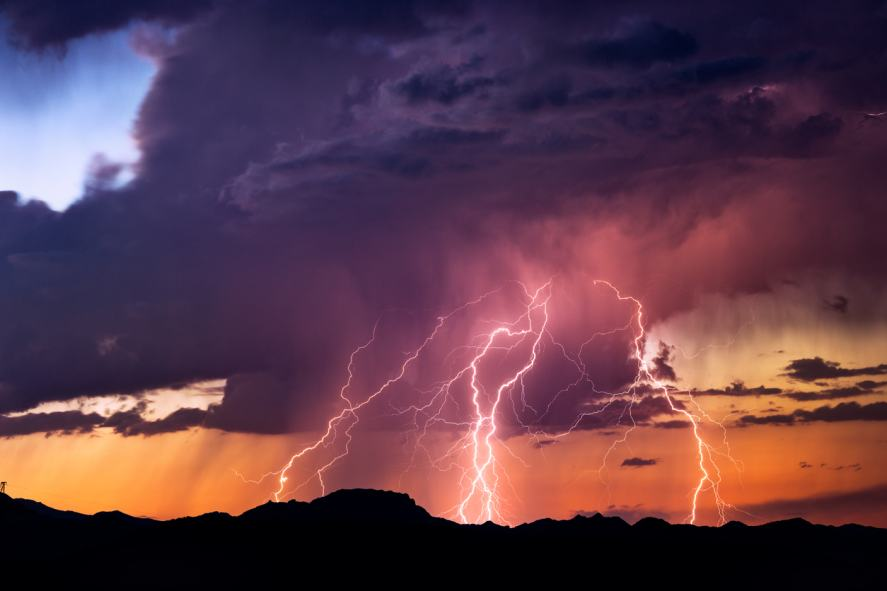 A thunder and lightning storm