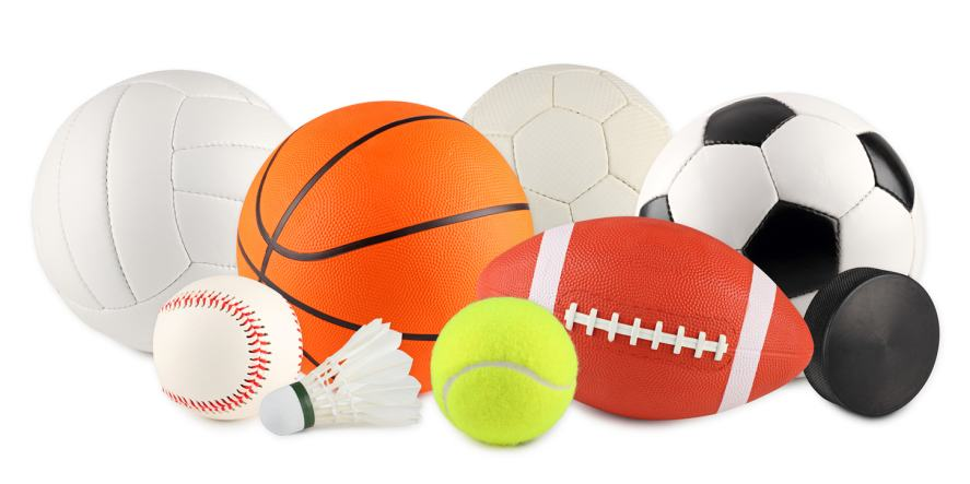A collection of sports equipment