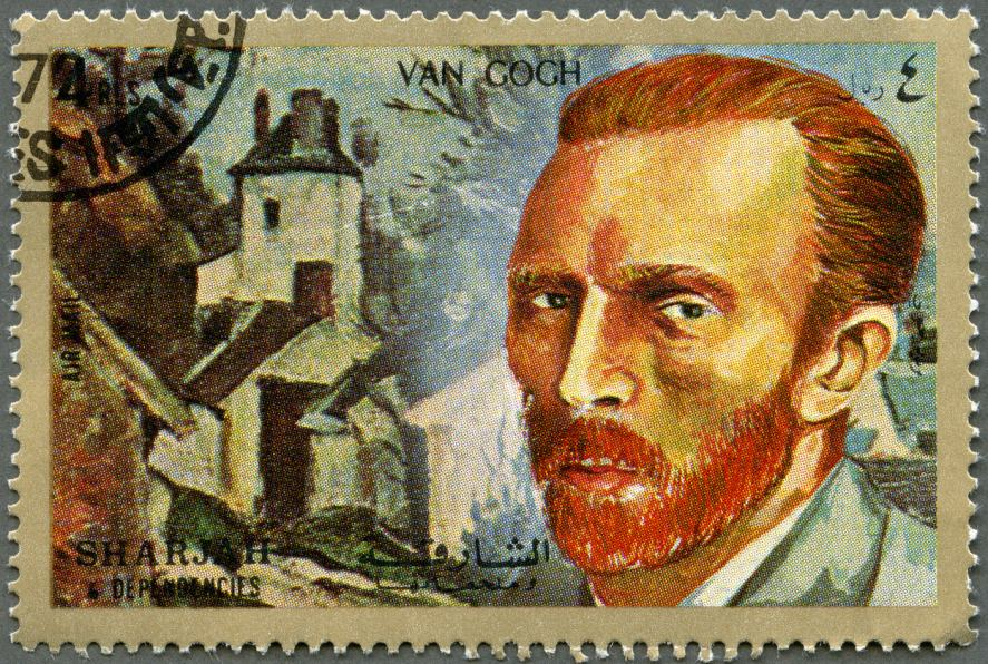 A stamp featuring Van Gogh