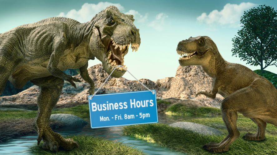 A dinosaur displaying a park opening hours sign