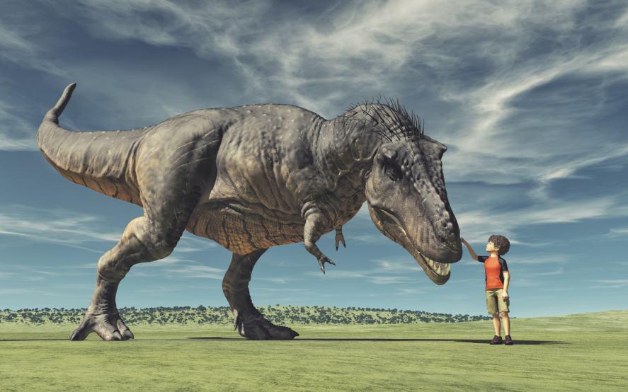 A boy petting a dinosaur