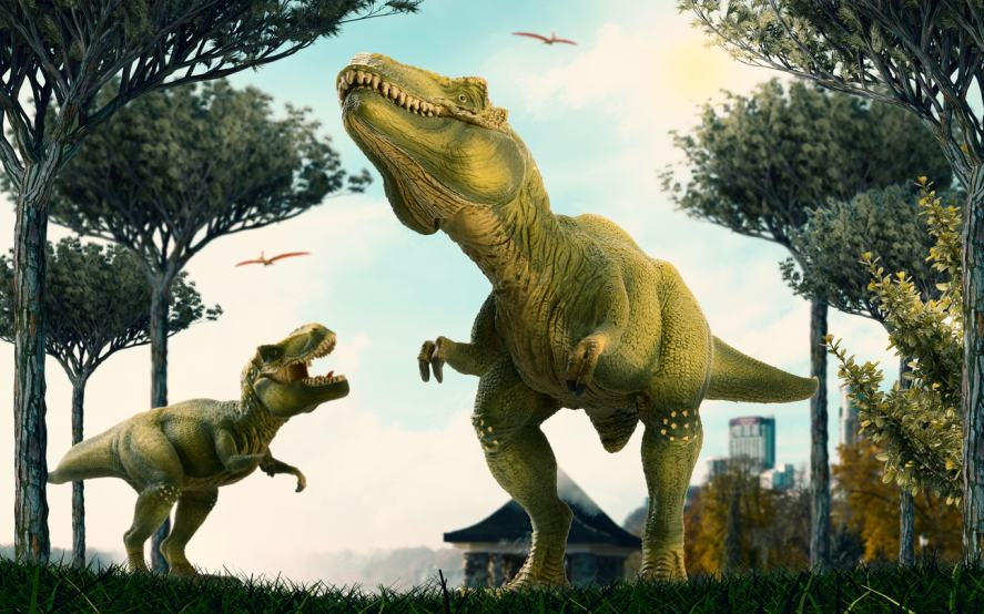 Two massive dinosaurs roaming free