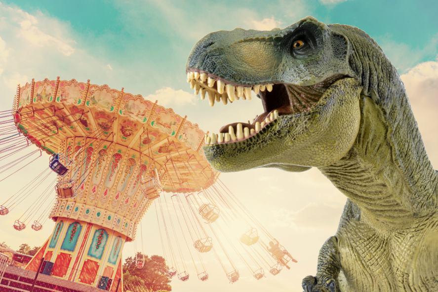 A T-rex at a fairground