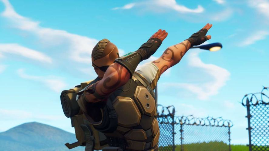 A Fortnite player dabs