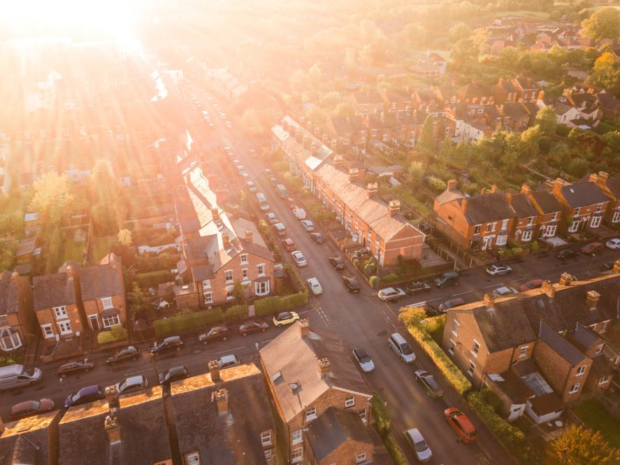 Which Premier League Team Should I Support: A birds eye view of a British street