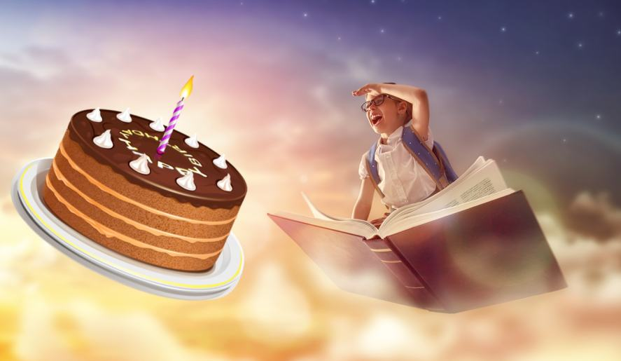A child and a flying cake