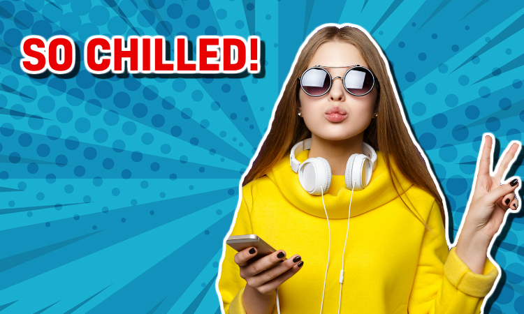 A girl with headphones and sunglasses looking very relaxed