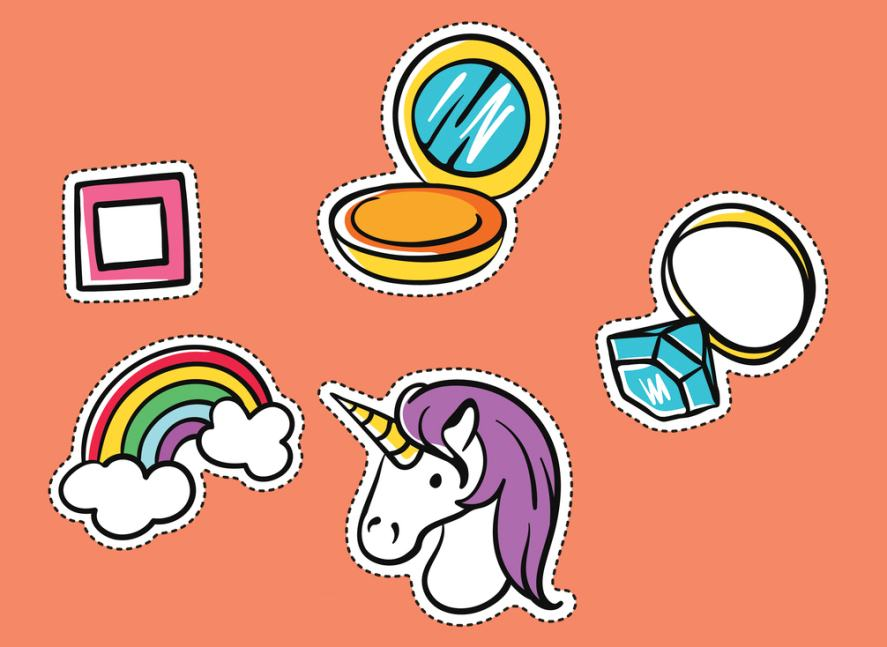 A collection of stickers placed on a plain background