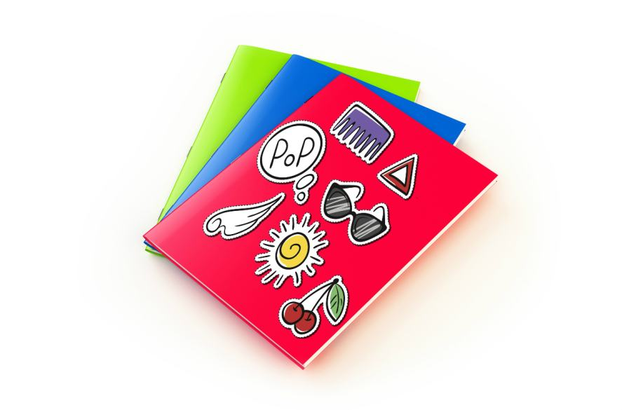 An exercise book covered in stickers