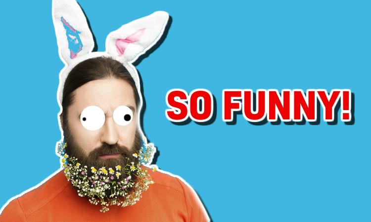 A bearded man in rabbit ears