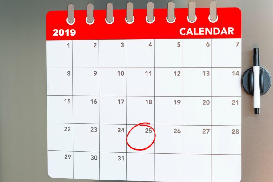 A 2019 calendar
