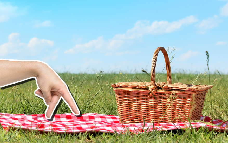 A sneaky hand approaches a picnic basket