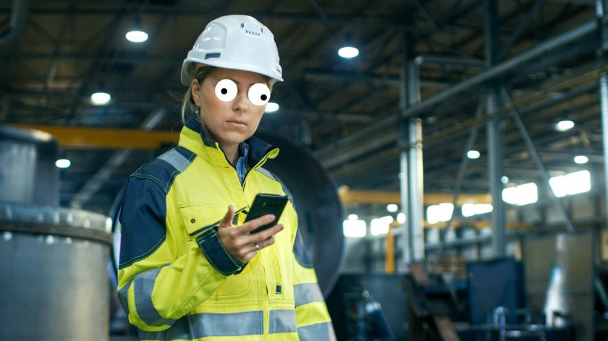 A woman working in an industrial warehouse