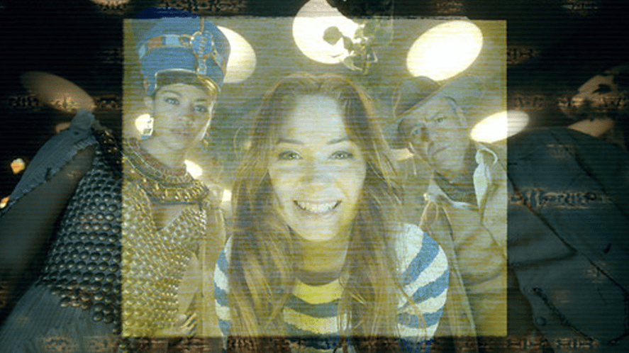 Amy Pond looking into a computer screen on a spaceship feat. Queen Nefertiti and John Riddell