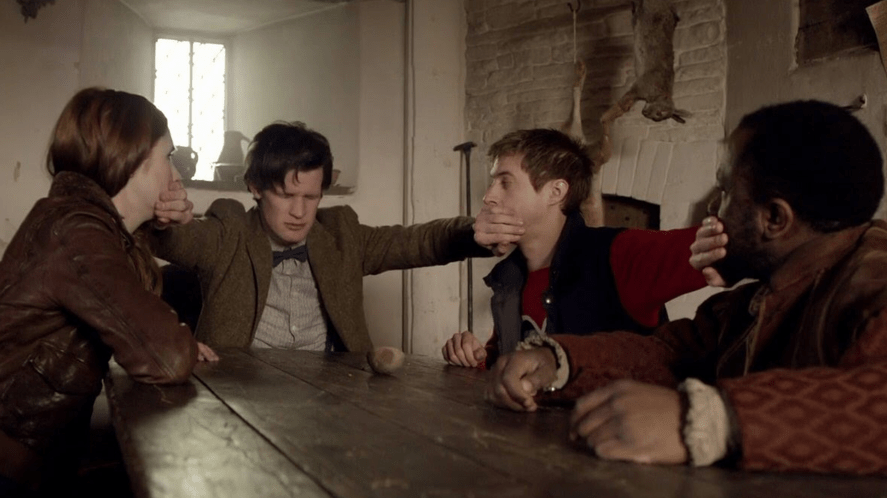 The Doctor stopping Amy, Rory and some Italian guy from talking with his Time-lord hands