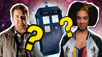 Craig Owens and Bill Potts by the TARDIS and some question marks