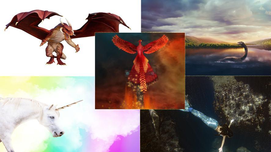 A Dragon, Loch Ness Monster, Unicorn, Mermaid, Phoenix