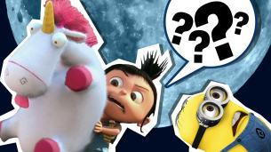 Despicable me with question marks in a speech bubble