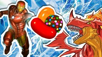 iron man, candy and a dragon