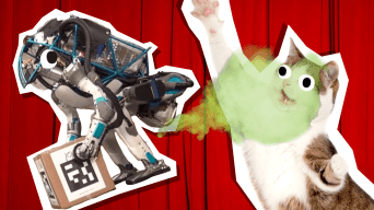 a robot farting on a cat
