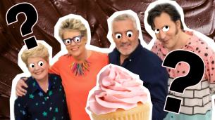 the bake off judges looking at a delicious cake