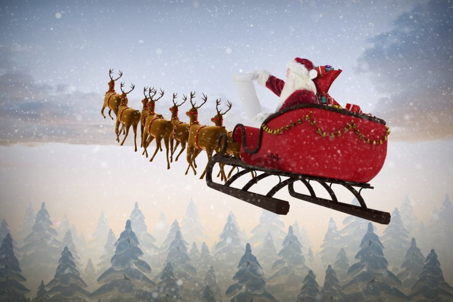 Santa Claus riding on sleigh