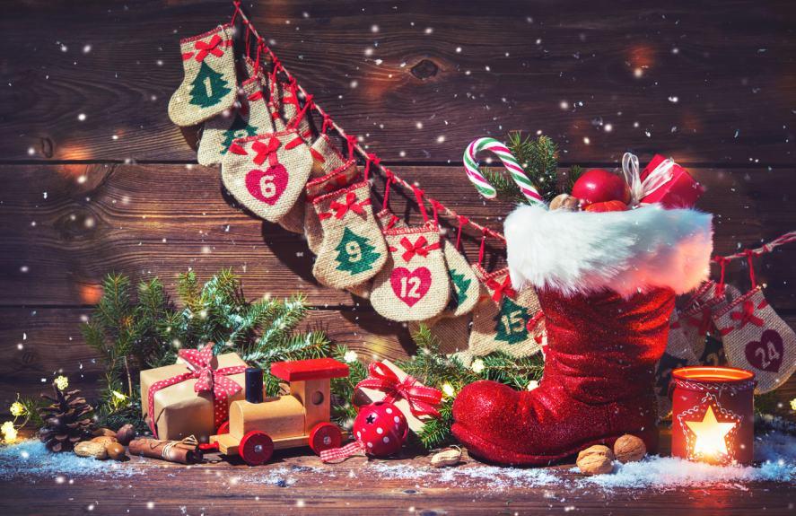 An advent calendar with a stocking