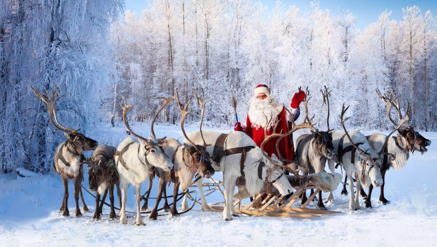 Santa and his reindeer in the snow