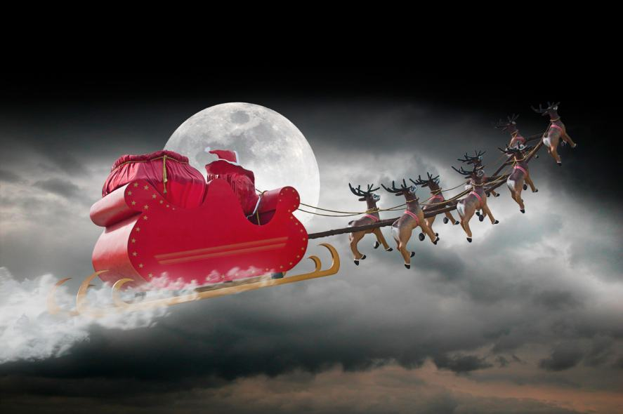 Santa zooms past in his sleigh