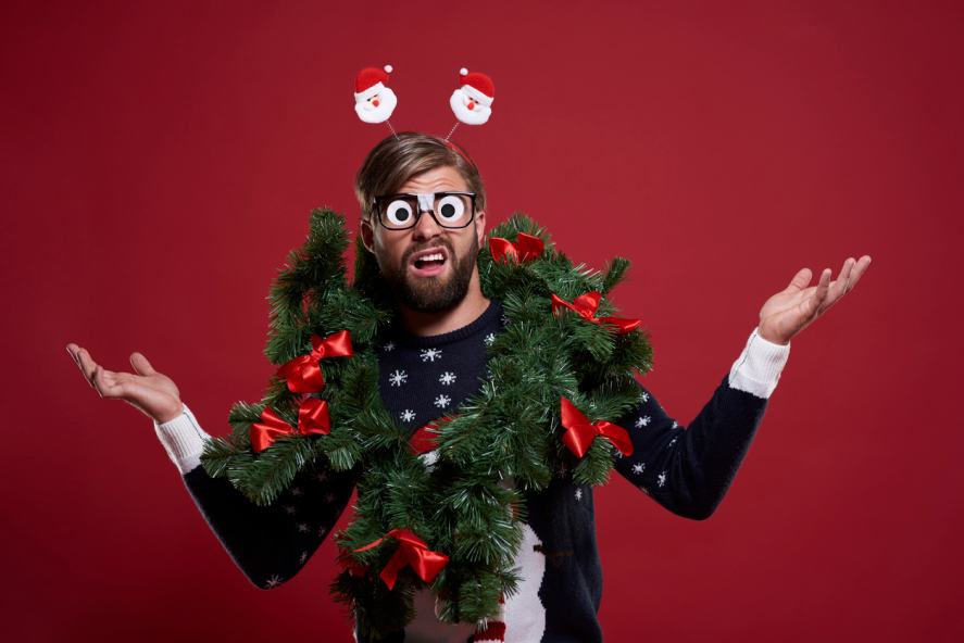 Man in embarrassing Christmas outfit