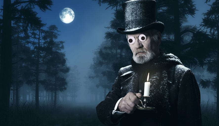 Scrooge holding a candle on a dark night