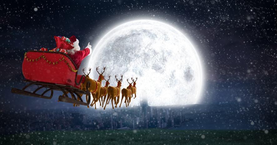 Santa driving his sleigh