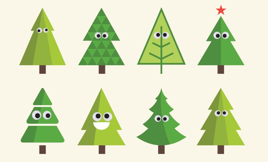 A group of Christmas trees