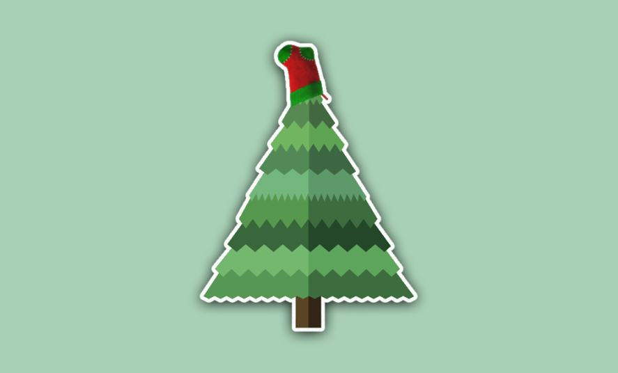 A Christmas tree with a sock stuck on top