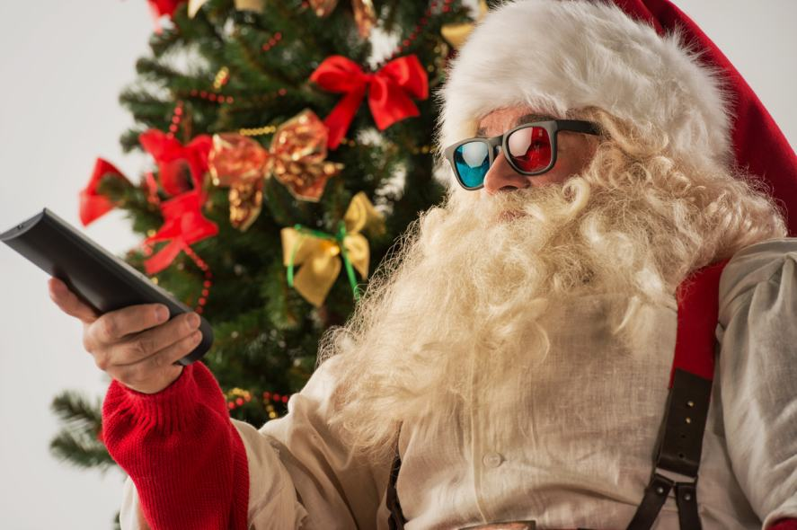 Santa wearing old-fashioned 3D glasses