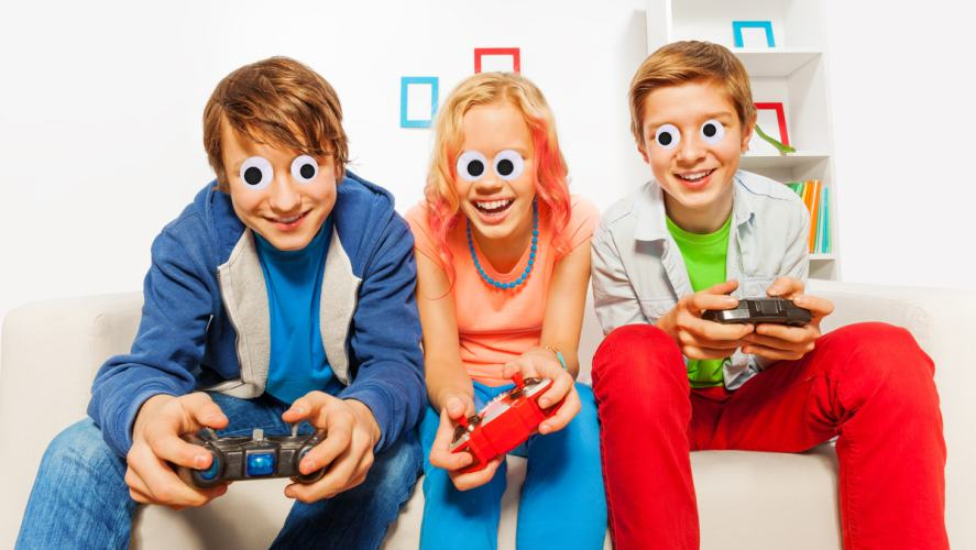 Three people playing video games