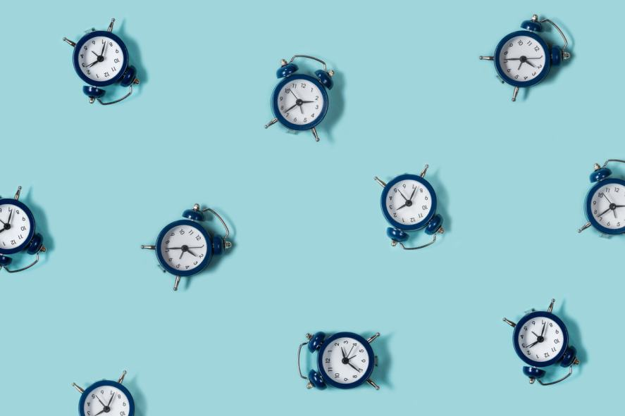 A collection of alarm clocks
