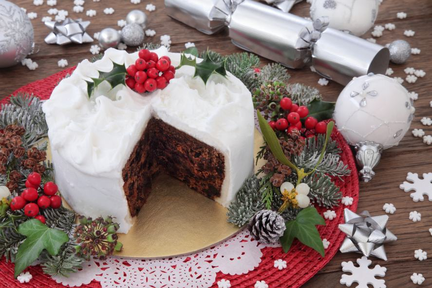 A big Christmas cake covered in marzipan and icing