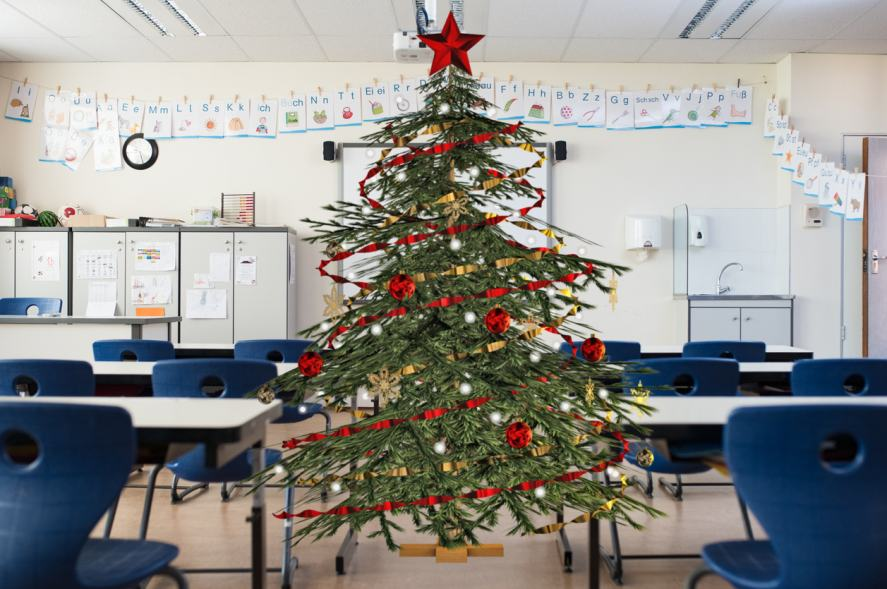 A Christmas tree set in the middle of a classroom