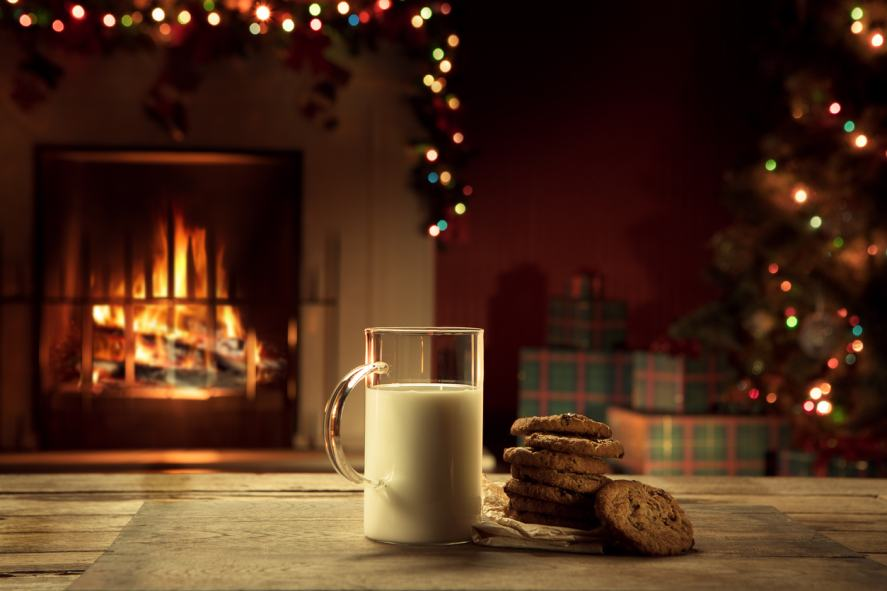 Milk and cookies, possibly for Santa