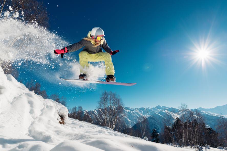 A person snowboarding