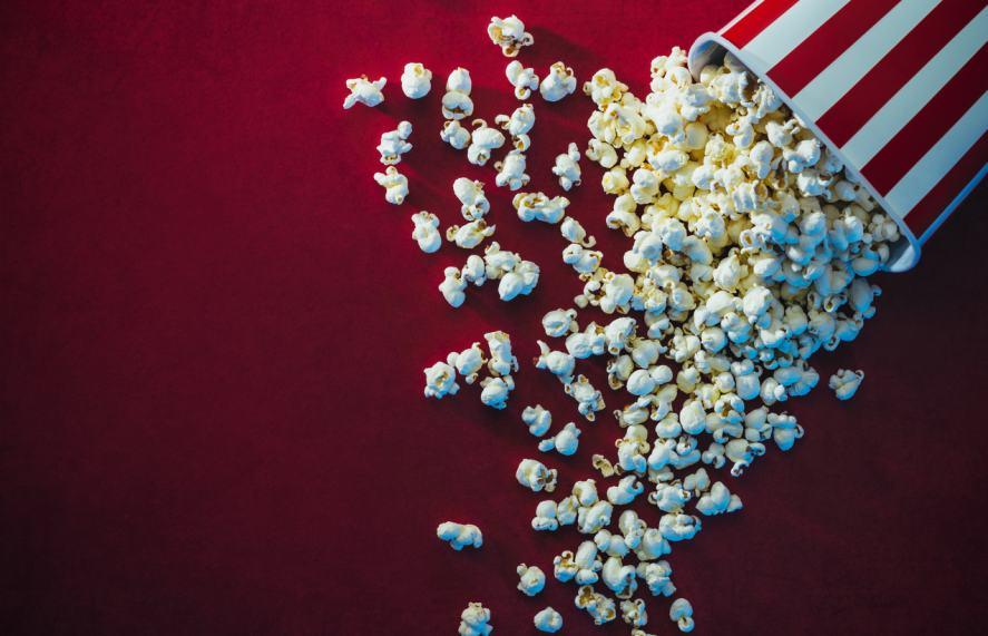 A spilled tub of popcorn