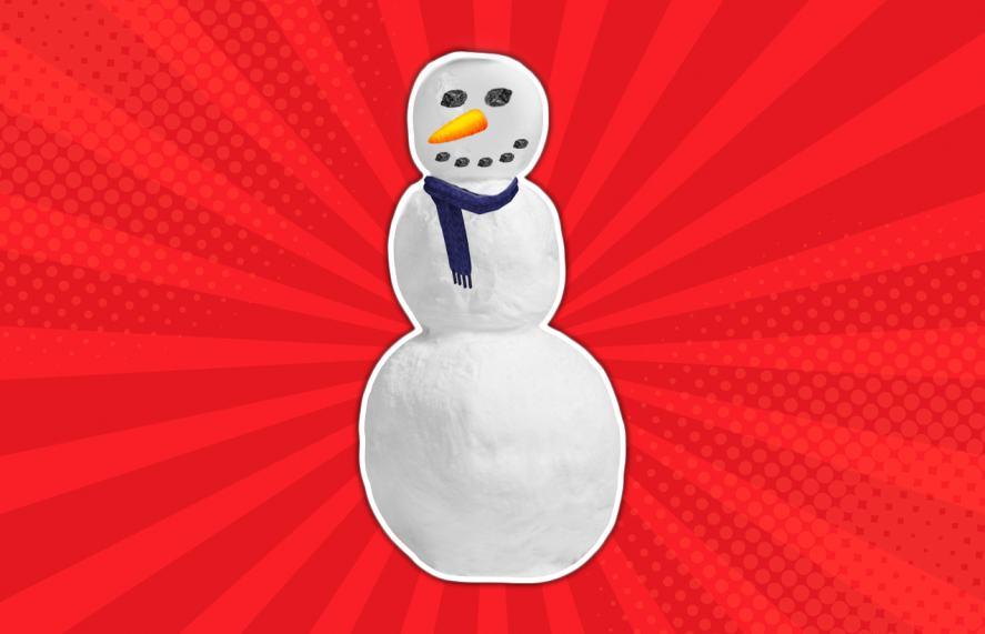 A snowman wearing a scarf