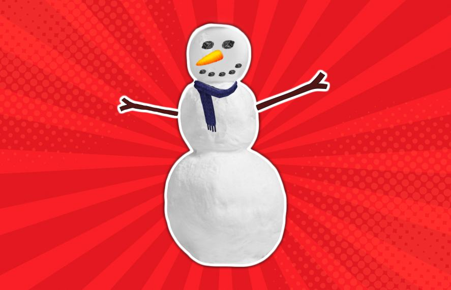 A snowman with stick arms