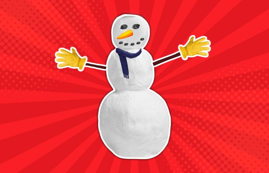 Snowman wearing gloves